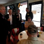 State Senator Kirk Dillard is joined by State Rep. Don Moffitt during a campaign stop Saturday at Spudo's in Galesburg.