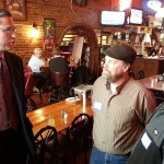 (Mike Frerichs, meeting potential voters in March in Galesburg.  WGIL News File Photo.)