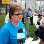 (Galesburg Education Association spokesperson Tami Qualls speaks to reporters August 21.  WGIL News File Photo.)