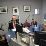 (Galesburg School District Superintendent Gene Denisar, right, and Assistant Superintendent Guy Cahill, speak with WGIL News Director Will Stevenson in March, 2010.  File Photo.)